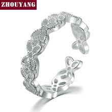 ZHOUYANG Romantic Lace Hollow 925 Sterling Silver Adjustable Ring S925 Fashion Jewelry for Women Wholesale RY026(China)