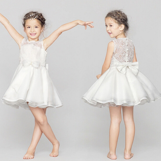 2017 Summer Simple White Chiffon Flower Girl Dresses For Beach Weddings Bow With Lace Princess Sofia Party Dress For 3-12T<br><br>Aliexpress