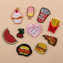 1 pcs Cute Cartoon Pizza Chips Hamburg Fruit Icscream Motif Embroidered Patches Iron On Patch Badge DIY Clothing Applique
