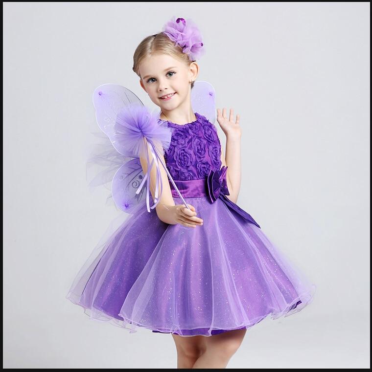 Girls Dress Childrens Princess Dresses Three Quarter Wedding Kids Dress for Girl 2015 Brand New Style baby clothes<br>