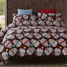 3D Sugar Skull Bedding Set Flower Duvet Cover Europe Cartoon King Size White Duvet Cover Queen
