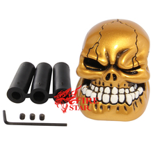Good quality Aluminum Cool Yellow Manual Resin Skull Car Interior Gear Stick Shift Knob Shifter Lever Cover for vw passat b5