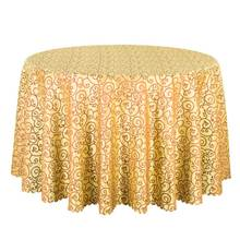 1PCS Top Quality Jacquard Gold Table Linen Square Decor Dining Table Cloth For Hotel Party Wedding Round Table Covers Wholesale(China)