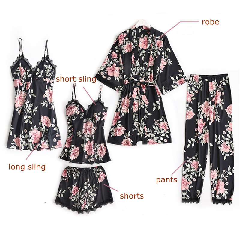 JULY'S SONG 5 Peices Sleep Lounge Pajama Set Sexy Satin Sleepwear Women Summer Winter Fashion Flower Pajamas for Women Robe