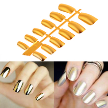 12pcs Acrylic Nail Tips Shiny Punk Style Metallic Metal Gold Silver Color Fake False Nails Long Size(China)