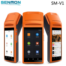 SM-V1 handheld touch screen all-in-one QR cash register receipt printer 5.5 inch smart Android Pos system with free SDK