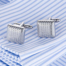 Hot Sale AAA Quality Laser Cufflinks 18model Men French Excellent Cuff links Wholesale grid Cufflings silver cuffs
