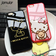 JAMULAR Cute Cartoon Hello Kitty Silicone Mirror Cases For iphone 7 8 Plus 5s SE Soft Phone Case for iPhone 6 6s Plus Back Cover(China)