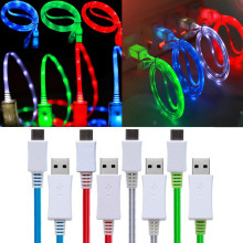 LED Light Micro USB Cable Charger Data Sync Cord Iphone Samsung Huawei Xiaomi Android Type-C Phone Tablet USB Charging Cable
