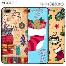 Merry Christmas Socks Cell Phone Cases For Iphone Apple 5 5C 5S SE 6 6S 6Splus Phone Shell Cover Bag Case For Iphone 7 8 Plus X(China)