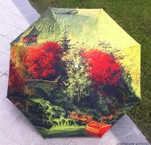 Scenery Maple leaf quality chinese oil painting sun rain art Umbrella 3 Fold Anti UV fashion Scenery impressionism free shipping