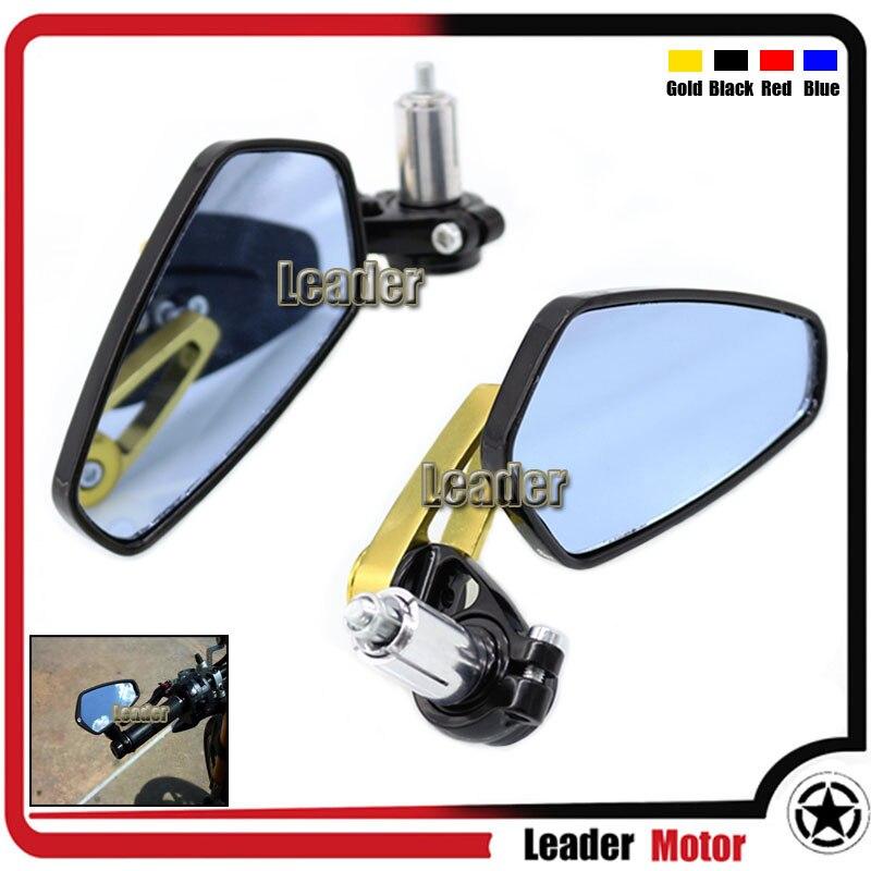 Universal Motorcycle CNC 7/8 22mm Rearview Mirror Handle Bar End Blue Side Mirror For Aprilia Dorsoduro 1200 750 RSV 1000R Gold<br><br>Aliexpress