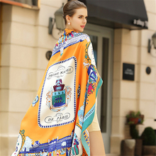 I0NASI Twill Silk Women Scarf 130*130cm European Fashion Stroll Paris Print Square Scarves Wraps Brand Gift Large Luxury Shawl(China)