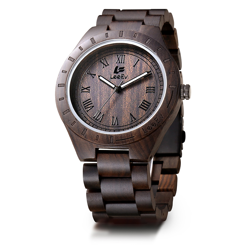 LeeEv Wood Watch Luxury 100% Natural Sandalwood Quartz Wooden Wristwatch for Men Christmas Gift Xmas<br>