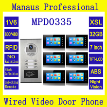 Newest Multi Apartments Building Intercom System Video Door Phone with 6 buttons Support RFID Card Unlock with 6 Monitors D0335
