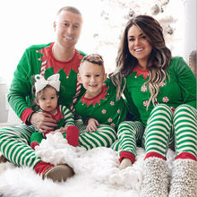 ship from us green kids family pajamas christmas outfits set child christmas stripe print tracksuit family matching clothes outfits