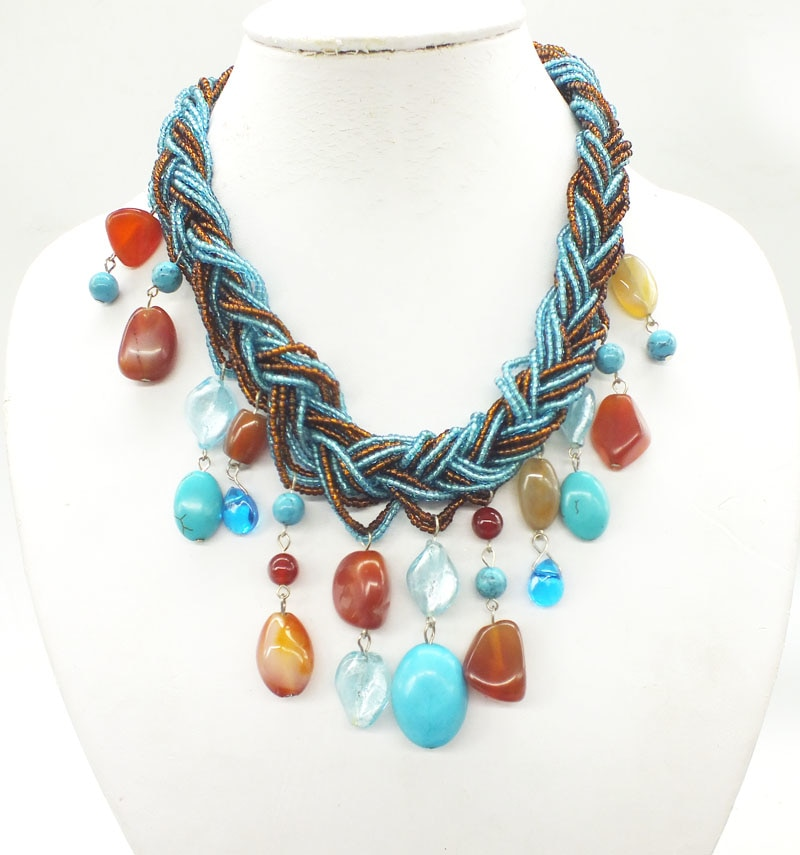 Crystal, semi-precious stones necklace, classic African bride wedding necklace 17""