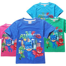 PJ MASKS Short Sleeve T-shirt Kids Childrens Tops Toddler Summer Kids Anime PJ Cotton Clothes Baby Clothing Boys T-Shirts 3-10Y