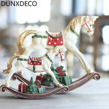 DUNXDECO Holiday Decoration Accessories Miniature Figurine Small Vintage Childhood Memory Horse Resin Crafts Desktop Display(China)