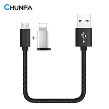 CHUNFA Black Short Micro USB Cable for Android Phone Charger Fast Charging Wire Set Nylon 2.4A Mini USB Quick Charge 25CM