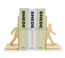 Free Shipping 1Set Novelty Walking Man Bookends The Man Walking Through The Books Wooded Bookends Set
