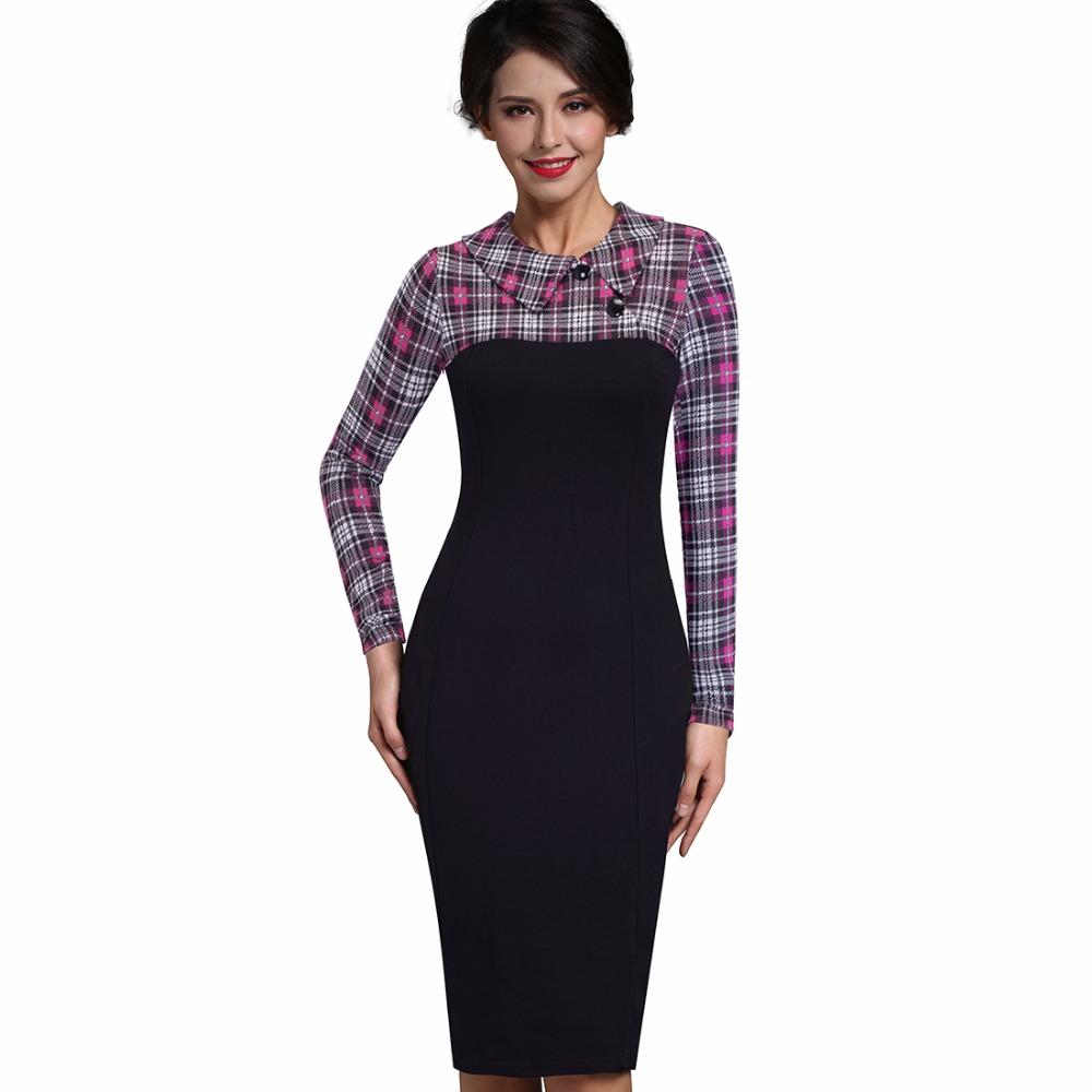 Nice-forever Elegant Vintage Fitted winter dress full Sleeve Patchwork Turn-down Collar Button Business Sheath Pencil Dress b238 24