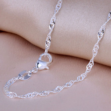 "Top Quality Water Wave Singapore Necklace Chains With Lobster Clasps 16""-30"" free shipping women silver plated chain jewelry"