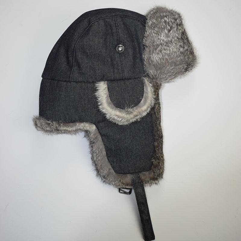 grey rabbit fur jean black shell
