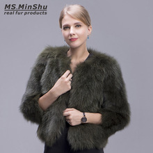 Ms.MinShu Fox Fur Coat Short Style 100% Genuine Fox Fur Outwear Long Sleeves Natural Fox Fur Jacket Winter Fur Garments Women(China)