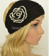 BEST SELLING Fashion rhinestone flower pattern handmade headband knit headwrap crochet headbands headwear