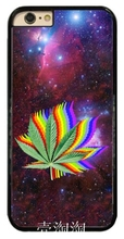 0832 Leaf in Space Rainbow Trippy Weed Design cell phone bags case cover for iphone 4S 5S 5C SE 6S 7 PLUS Samsung S3