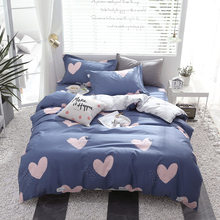 Luxury bedding set Twin full Queen King size cotton pink love pattern duvet cover with pillowcase Bed sheet set blue bedclothes(China)