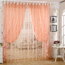 Pastoral Flowers Tulle Voile Window Curtain Drape Panel Sheer Scarfs Valances Window Scarfs For living room bedroom