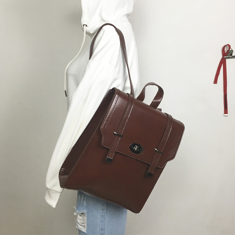 Fashion Vintage Solid Shoulder Bag Women Simple Style Backpack Large Capacity PU Leather Backpacks For Teenage Girls School Bags<br>