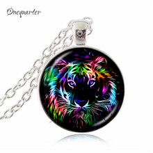 Bengal tiger pendant necklace rare wildlife jewelry white black big cat choker glass cabochon pendant silver chain neckless gift