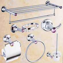Europe Polished Chrome Bathroom Accessories Antique Silver Brass Bathroom Hardware Sets Diamond Bathroom Products Kh32