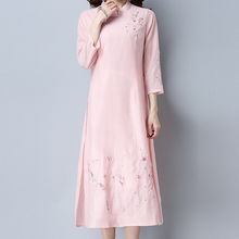 Buy KYMAKUTU Elegant Pink Cheongsam Embroidery Autumn Dress Stand Collar Three Quarter Sleeve Cotton Linen Women Clothing Vestidos for $25.29 in AliExpress store