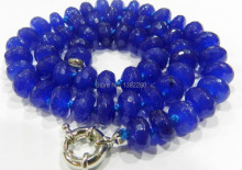 "wholesales design gift  5x8mm Faceted Blue chalcedony Roundel Beads Necklace 18"" !   JT5991"