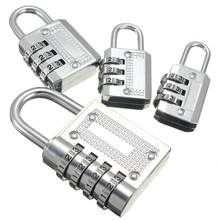 Top Safeyt 3/4 Dial Combination Padlock Locker Door Toolbox Luggage Suitcase Lock Hot Selling Zinc Alloy Silver