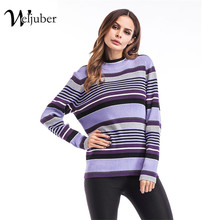 Weljuber Woman Stripe Pullover Sweater Knitted New Fashion Winter Warm Loose Knitwear Blouse Ladies Christmas Thicken Sweaters(China)
