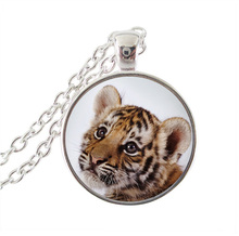 Tiger pendant necklace natural wild tigerling animal jewelry glass dome pendant silver long chain neckless women men accessories