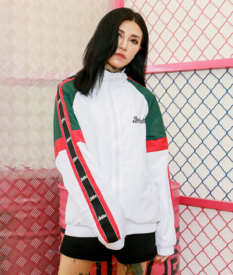 Sleeve Ribbon Color Block Zip Track Jackets 3