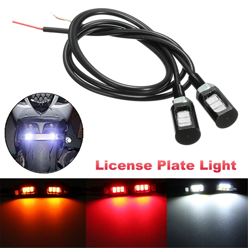 12V 3 5630 LED Motorcycle Car License Plate Screw Bolt Light Auto Reading Front Tail Number Lamp White Red Yellow<br><br>Aliexpress