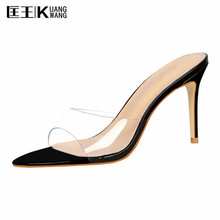 2017 Fashion Shoes Woman Summer Sandals Slippers Sexy High Heeled Shoes Catwalk Transparent Glass Crystal Slippers Women Shoes