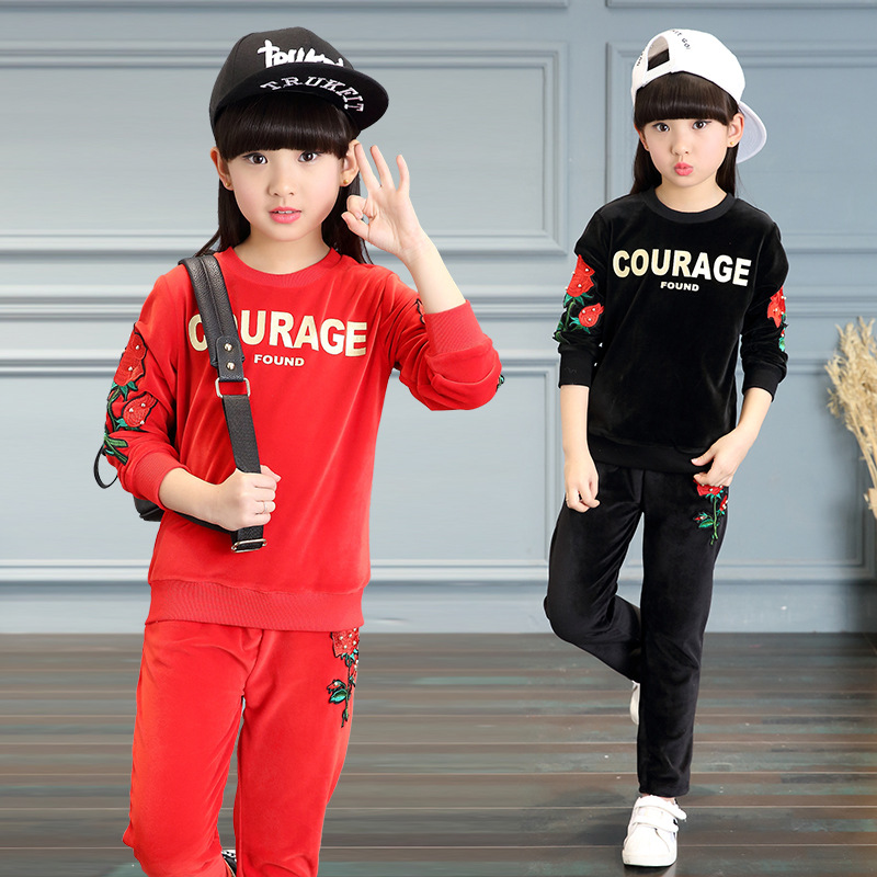 kids girls spring / autumn 2 pcs suit 2017 new baby girls clothing fashion suits letter flower print 4/5/6/7/8/9/10/11/12 years<br>