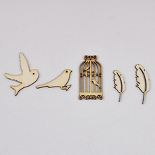 QITAI 38 Pcs/set Wooden Scrapbooking Retro Style Bird Cage.Bird.Tree Crafts Gorgeous Home Decorations DIY Products Gift WF283