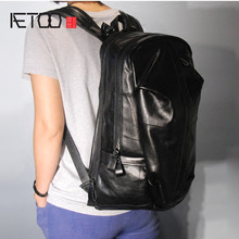 AETOO Fashion large section wide shoulder strap imports cow leather male backpack male bag mountaineering bag backpack