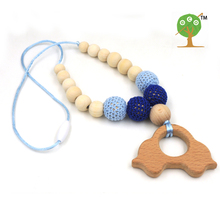Mommy Organic Teething bead necklace Nursing necklace , Crochet Necklace fade blue beech car  wooden charm baby boy gift EN28