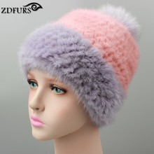 2016 Women's Fur Hats Real Fur Caps Snapback Large Fox Ball Thick Knitted Fur Hat Beanies Russian Style 3 Colors in Stock(China)