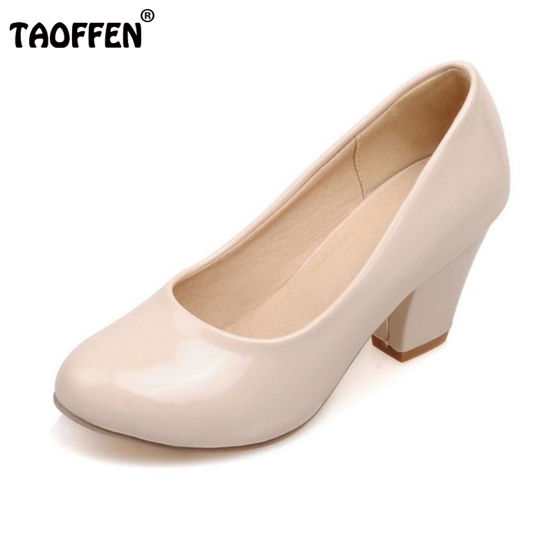 TAOFFEN Size 32-48 9 Colors women High Heels shoes Round Toe Patent Leather Thick High Shoes Women Pumps classic Dress Footwears<br>
